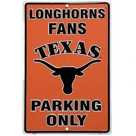 Texas Longhorns Orange Metal Fans Parking Only Sign, via https://myamzn.heroku.com/go/B001ROT5JU/Texas-Longhorns-Orange-Metal-Fans-Parking-Only-Sign