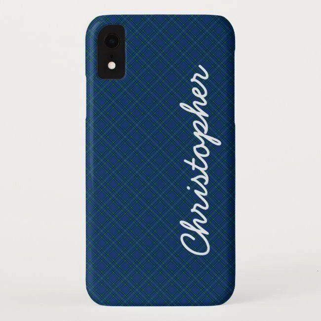 XR Case Blue Green Retro Plaid NameiPhone XR Case Blue Green Retro Plaid Name Brown leather laptop sleeve Leather electronic case Leather tablet cover Leather macbook sle...