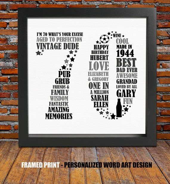 Framed 70th Birthday Gift By BlingPrints