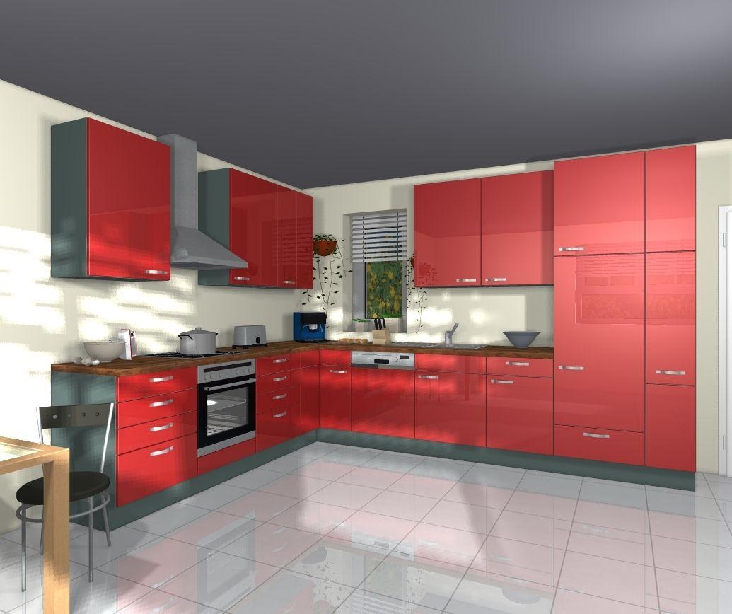 nobilia glanz k chen gloss rot hochglanz l k che k chen pinterest k che l k chen und. Black Bedroom Furniture Sets. Home Design Ideas