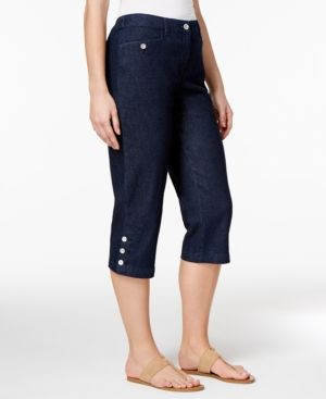 Karen Scott Petite Denim Capri Pants, Only at Macy's - Blue 16P ...
