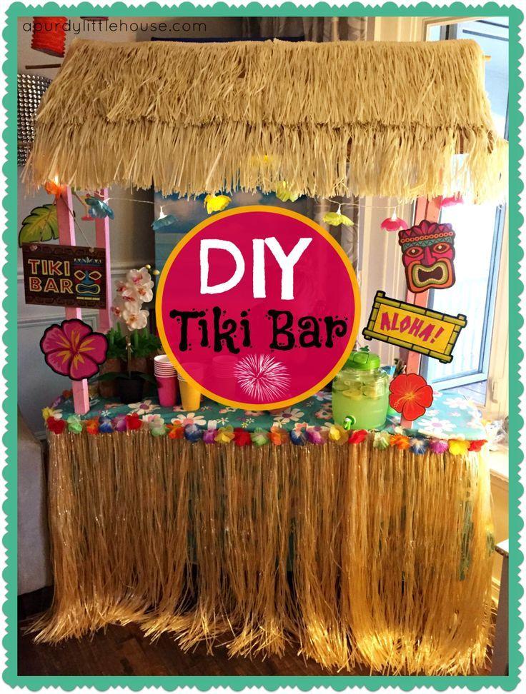 Diy tiki bar pinterest luau party tiki bars and luau for Homemade tiki bar pics