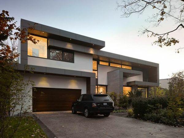 Moderne Architektur Schöne Fassade Grau Weiß