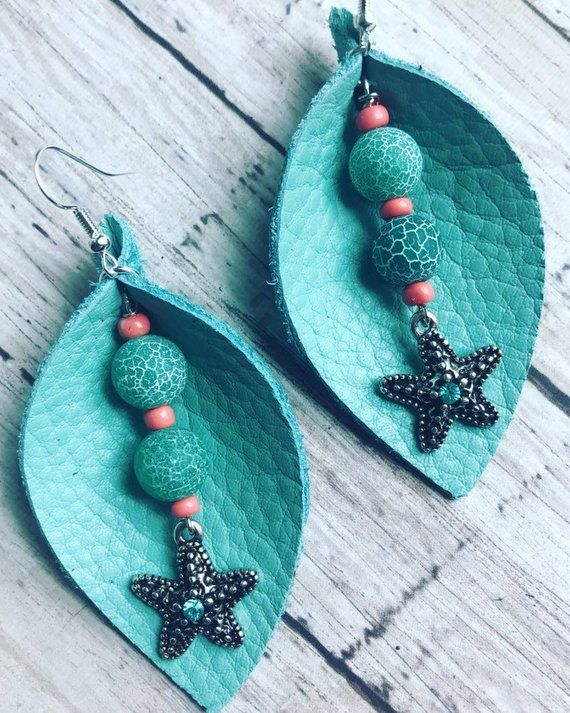 Photo of Items similar to Hello Summer Leather Leaf Earrings – Leather Earrings – Leaf Earrings – Lightweight Earrings – Handmade Jewelry – Beach Earrings – Vacation on Etsy