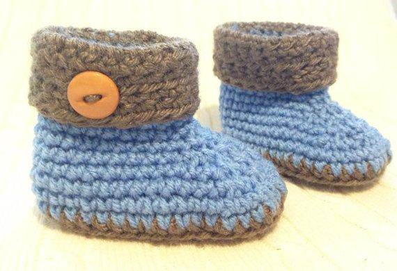 Crocheted Baby Ugg style boots / booties - blue/brown 0-6 mos