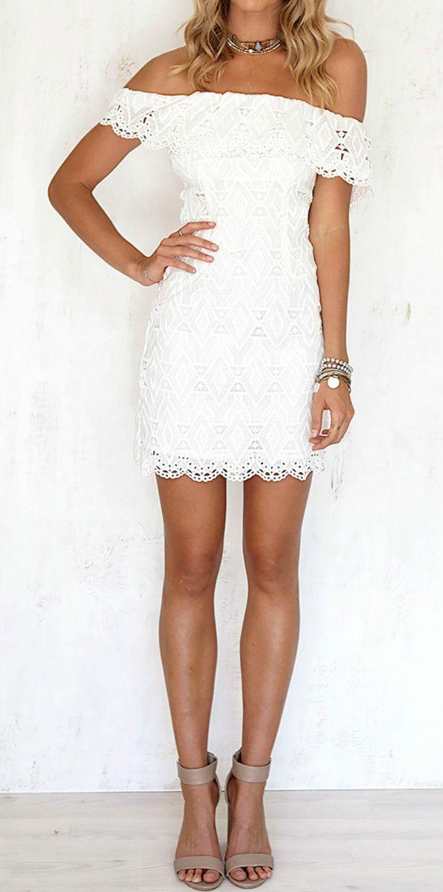 c484ee49951 Off Shoulder Lace Dress, Mini Robes, Little White Dresses, Ladies Dresses,  Grad