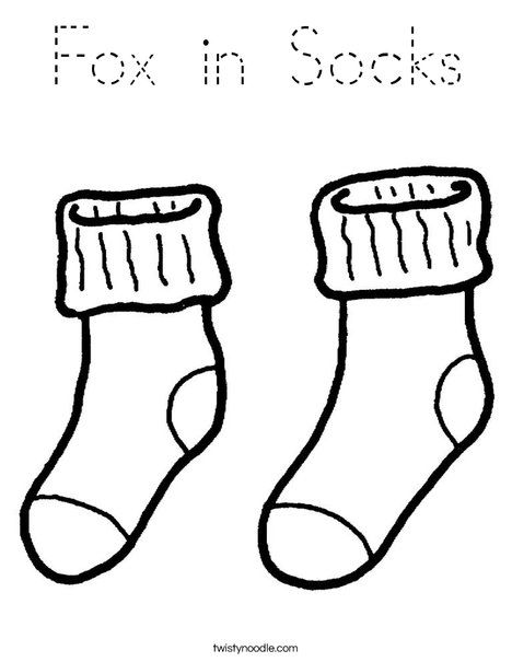 Fox In Socks Coloring Page Tracing Twisty Noodle Dr Seuss Coloring Pages Dr Seuss Crafts Seuss Crafts