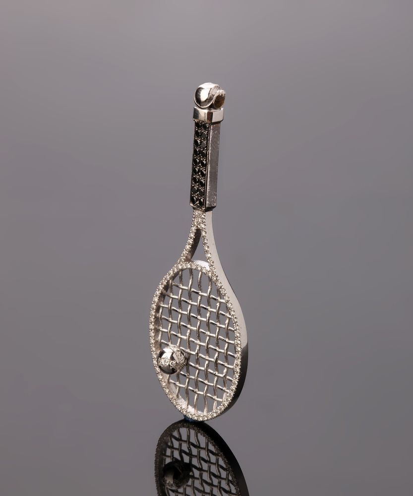 18k white gold tennis racquet pendant charm sport racket diamond 18k white gold tennis racquet pendant charm sport racket diamond jewelry 059ct starsbybaz mozeypictures Gallery