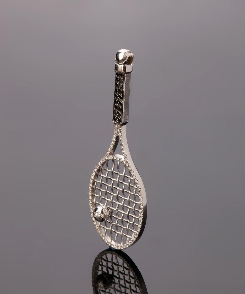 18k white gold tennis racquet pendant charm sport racket diamond 18k white gold tennis racquet pendant charm sport racket diamond jewelry 059ct starsbybaz aloadofball Images