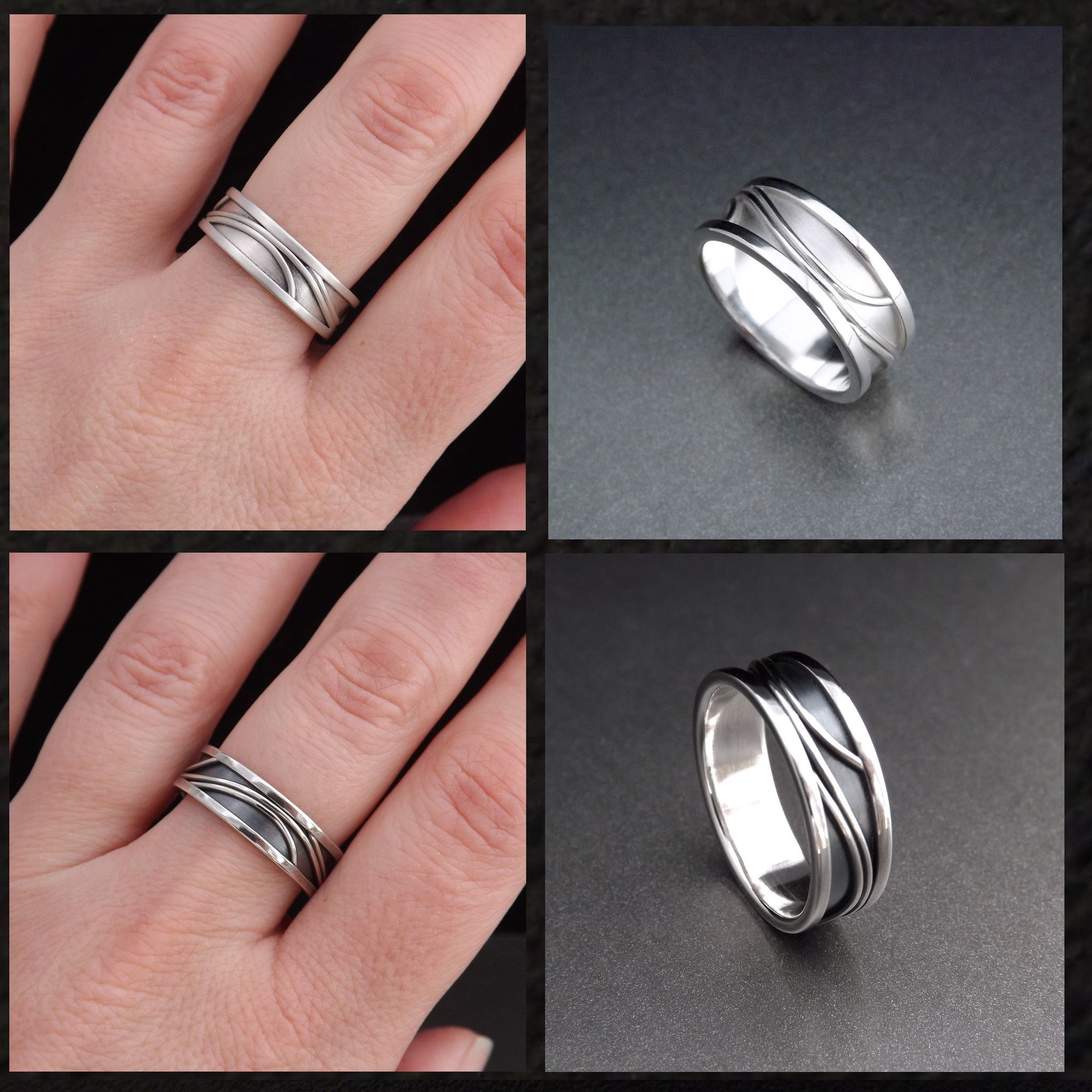 Matching Wedding Bands Handmade in Silver with Elegant Pattern ...