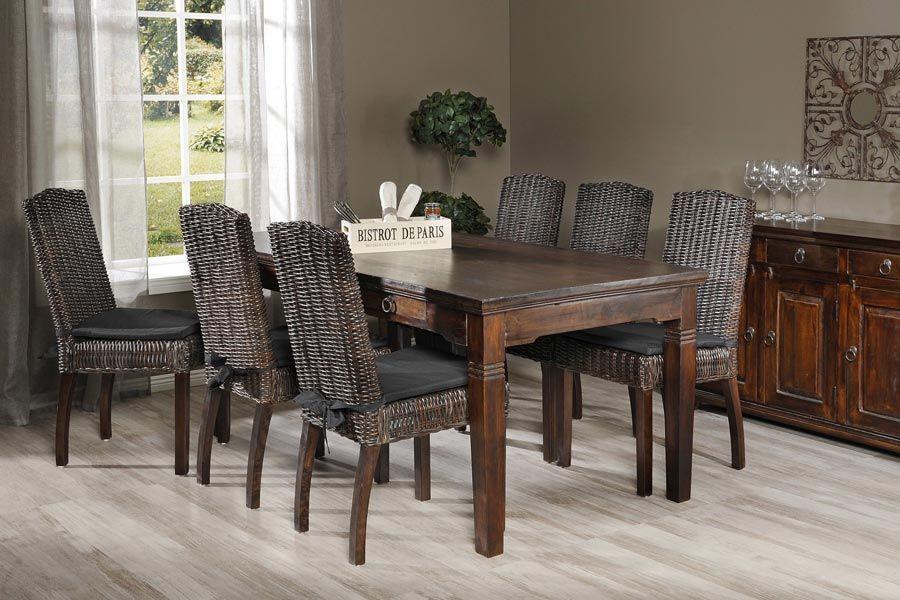 TECILA-ruokailuryhmä mango (pöytä 175X90 cm+6 tuolia) - Ruokailuryhmät ja pöydät | Sotka.fi