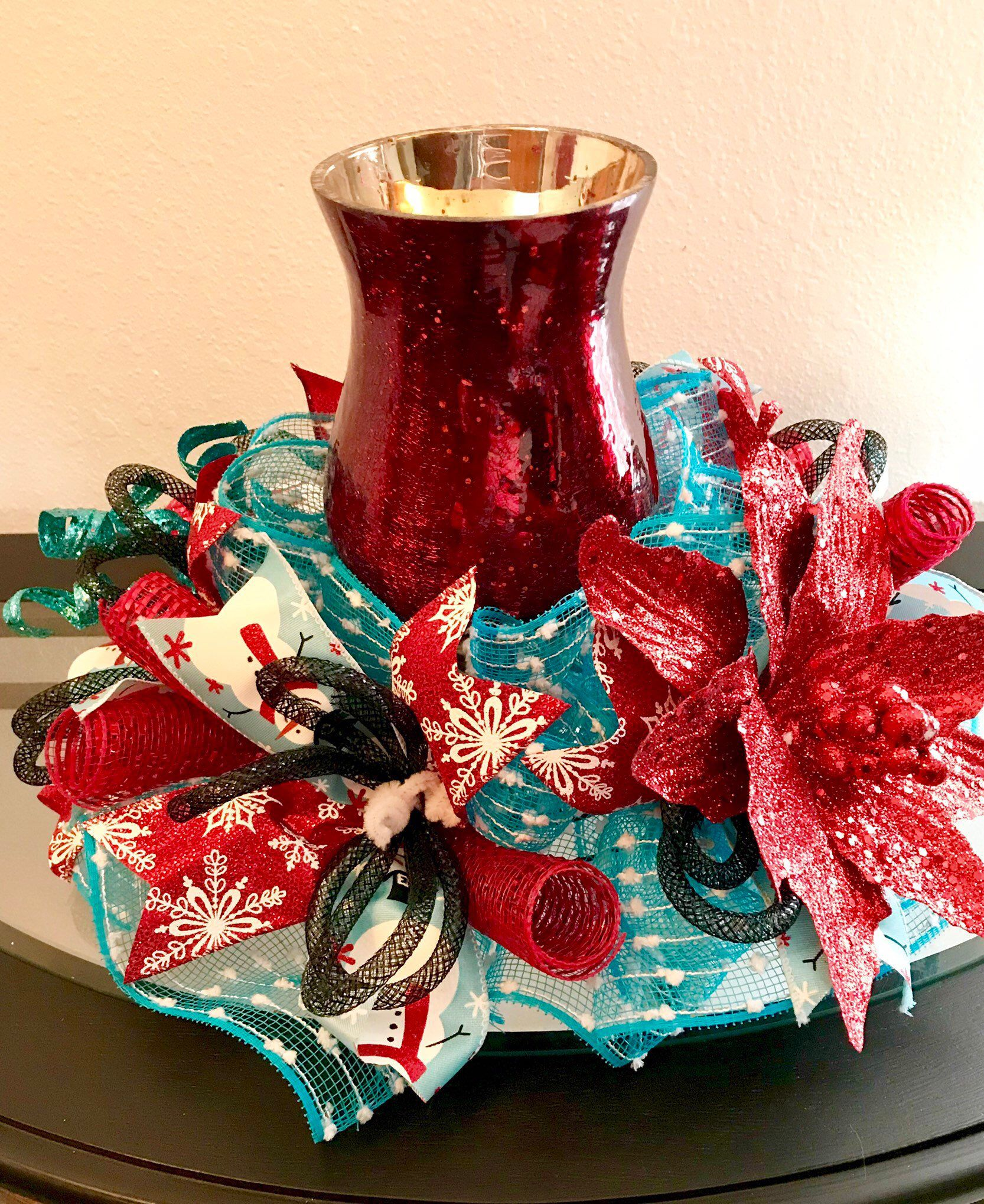 Deco Mesh Christmas Centerpiece Red And Teal Table Decor Holiday Centerpie