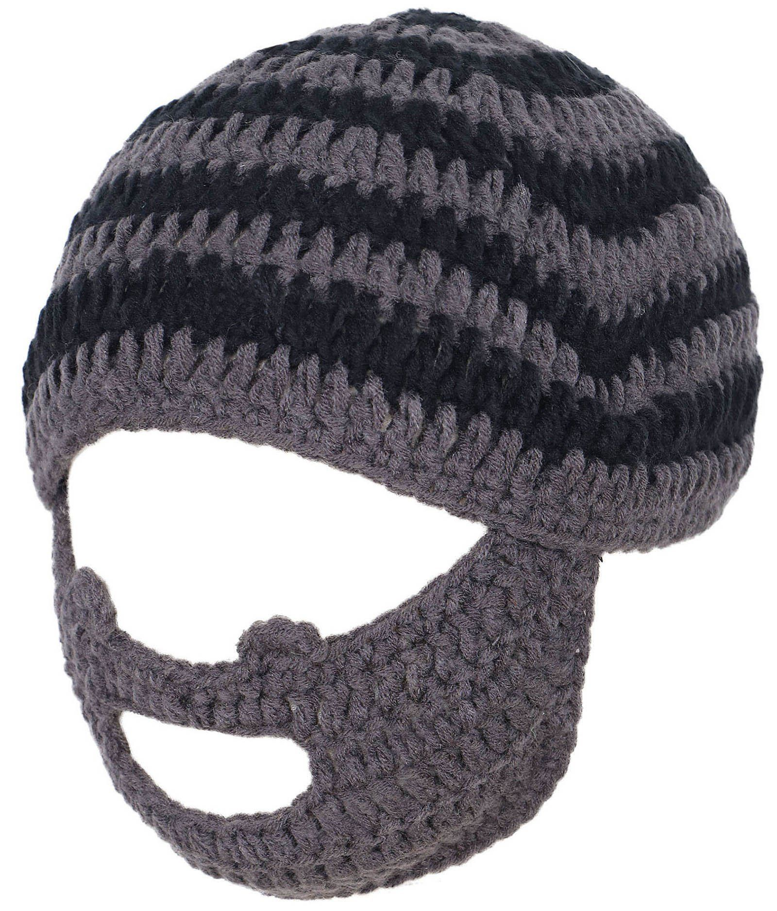 Winter Funny Party Hat Crochet Knit Beard Beanie Ski Mask Cap, Gray ...