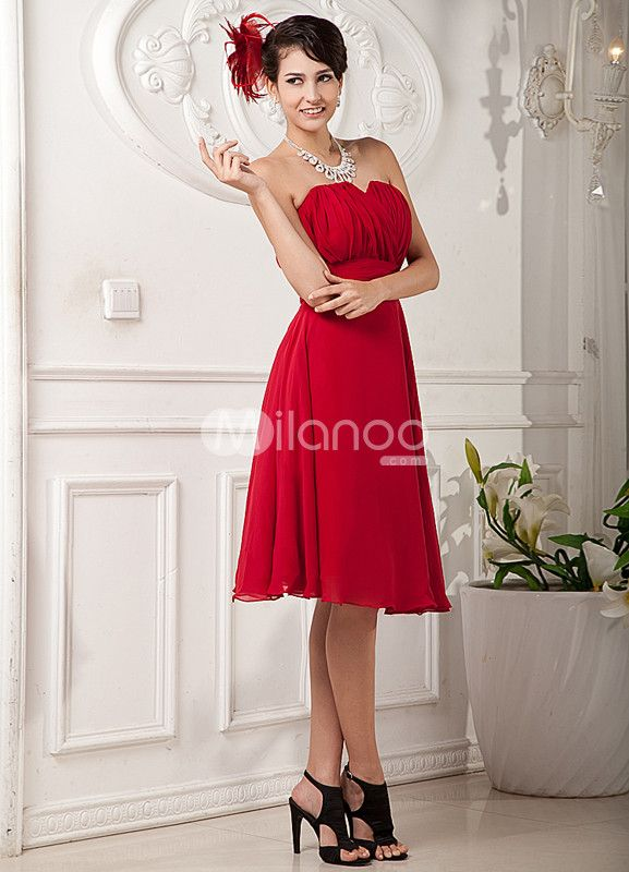Red Strapless Pleated Chiffon Elastic Woven Satin Homecoming Dress $88.99  Woman in red!