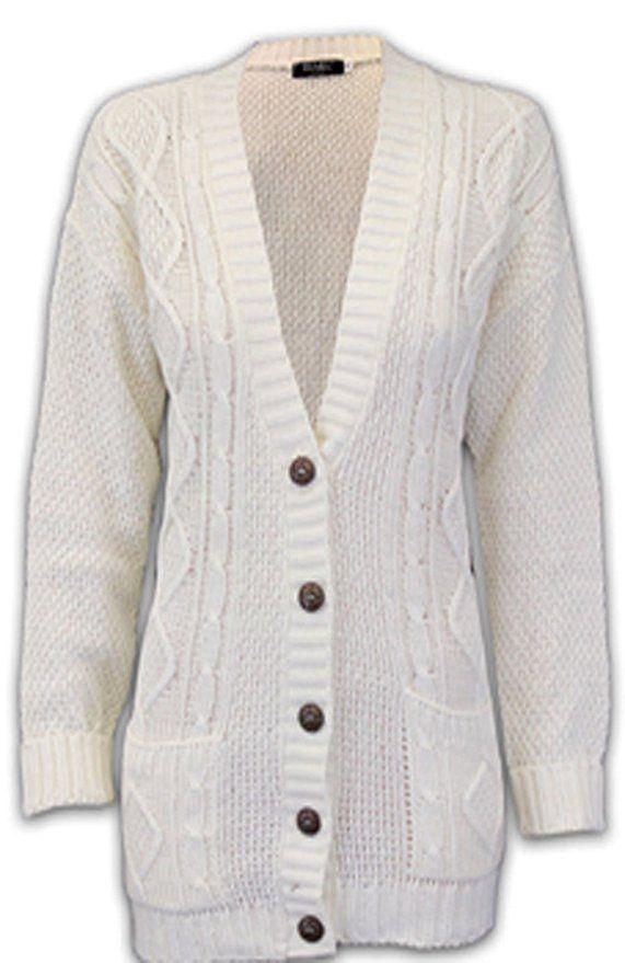 Ladies Girls Long Sleeve Boyfriend Cardigan Top Open Pocket Plus Sizes 6-24