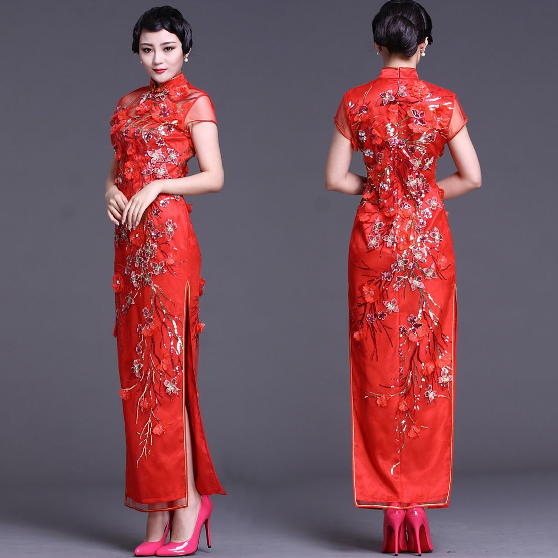 Embroidered red floral gauze qipao traditional chinese for Asian red wedding dresses