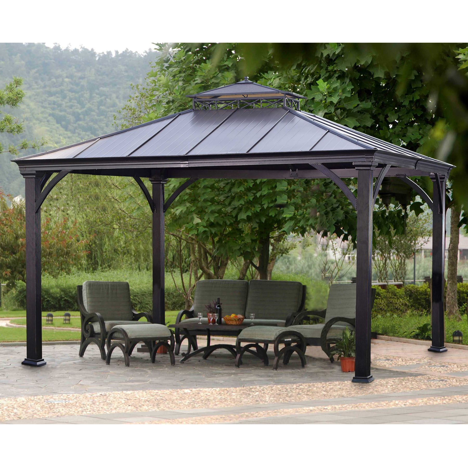 Sunjoy Deerfield Gazebo Outdoor Living Gazebos Canopies Pergolas Gazebos Sears I Need This For The Backyard Gazebo Backyard Gazebo Patio