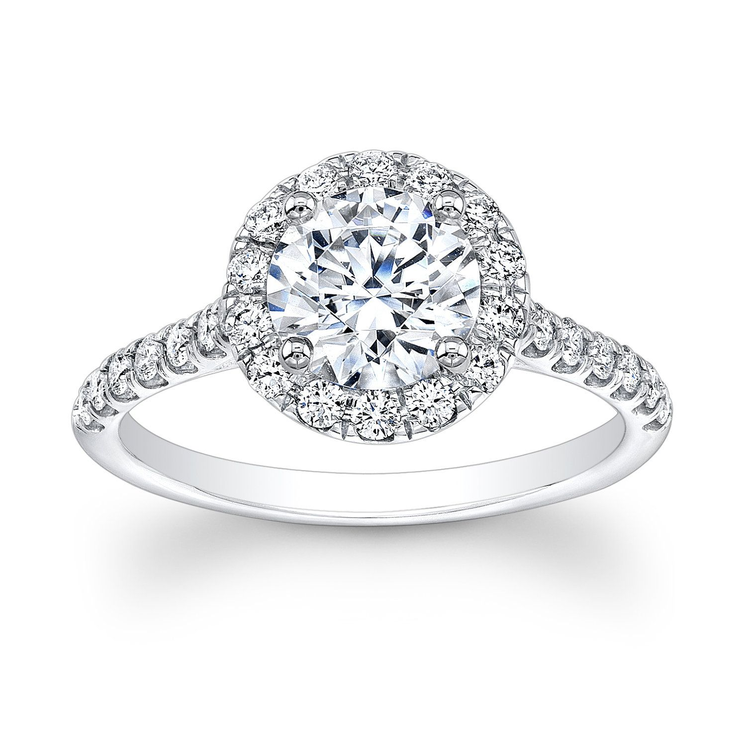 Ladies 14kt Diamond Engagement Ring With 160 Ct Round White Sapphire And  050 Ctw Gvs2 Diamond Quality
