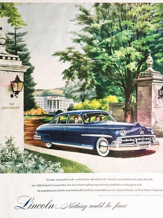 1950 Lincoln Vintage Ad Cosmopolitan Classic Cars Rustic Decor