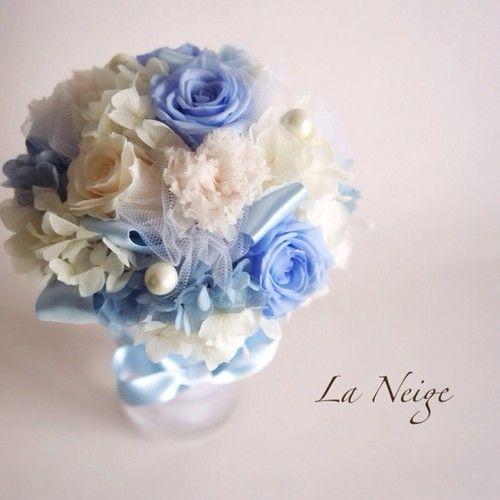爽やかなブルーのミニブーケ☆プリザーブドフラワー