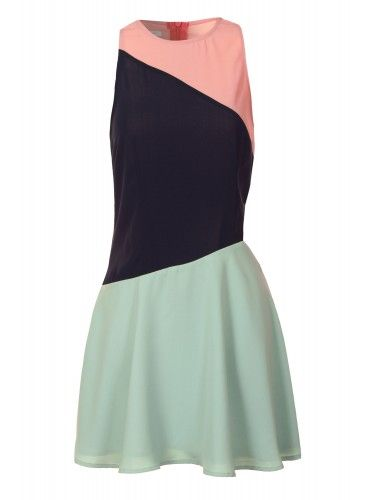 Colour Block Contrast Cut Out Dress In Pastel