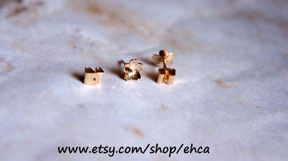 Handmade 6 75mm 14k Gold Cherry Blossom Locking Post Earrings Cherry Blossom Handmade Gold