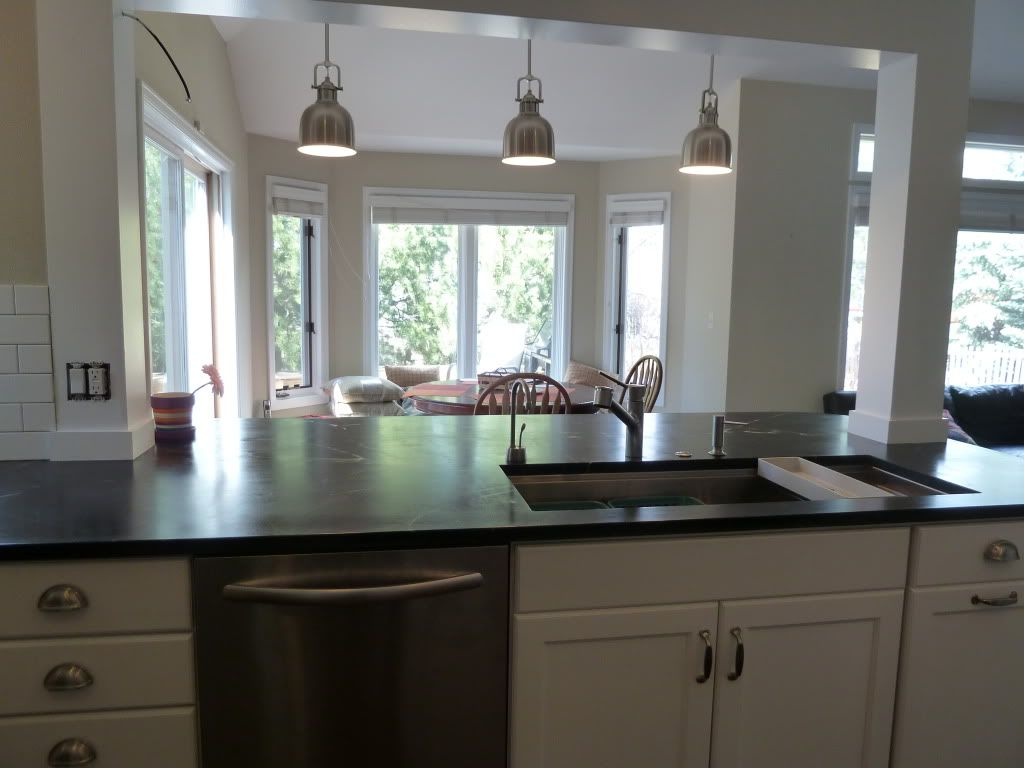 Kitchen Island Cabinet Toy Kitchens Incorporate A Support Post Into Remodel In