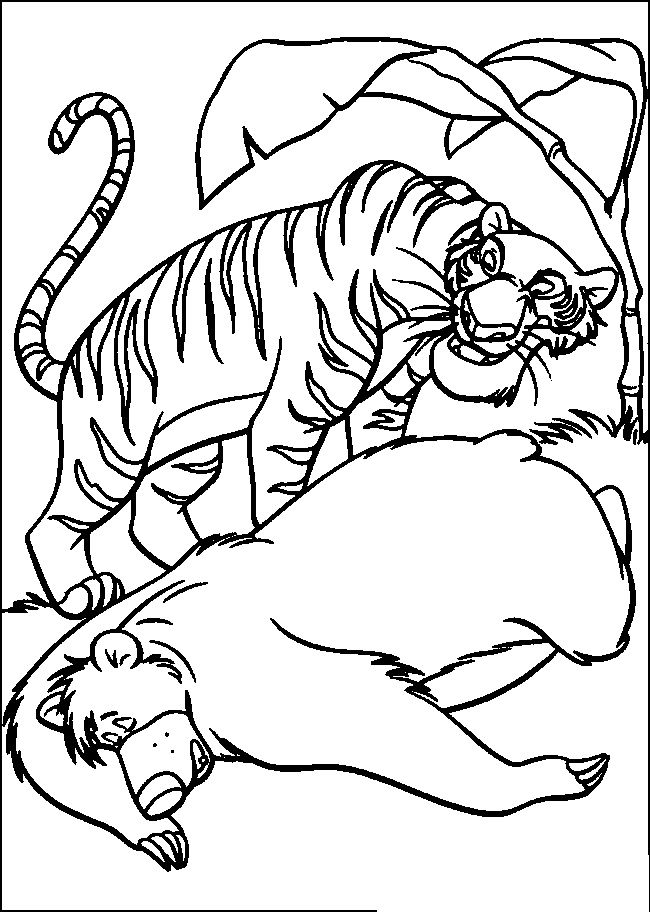 Jungle Book Shere Khan And Baloo Coloring Pages For Kids Printable
