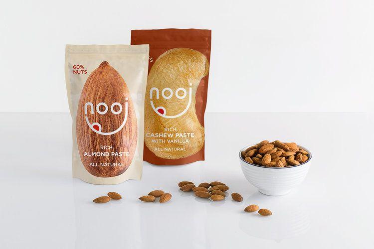 """Naming Branding And Packaging Design For Nooj An All Natural Almond And Cashew Nut Paste World Brand Design ͏¬ìž¥ ͏¬ìž¥ ˔""""자인 ˔""""자인"""
