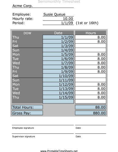 Simple Semimonthly Timesheet Printable Time Sheets Free To