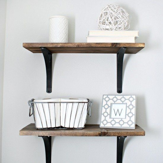 Shelves Using Stained Wood Planks
