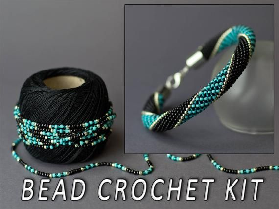 Photo of Bead crochet DIY kit bracelet seed bead bracelet kit diy jewelry beading kit bracelet making kit needlework kit diy gift turquoise bracelet