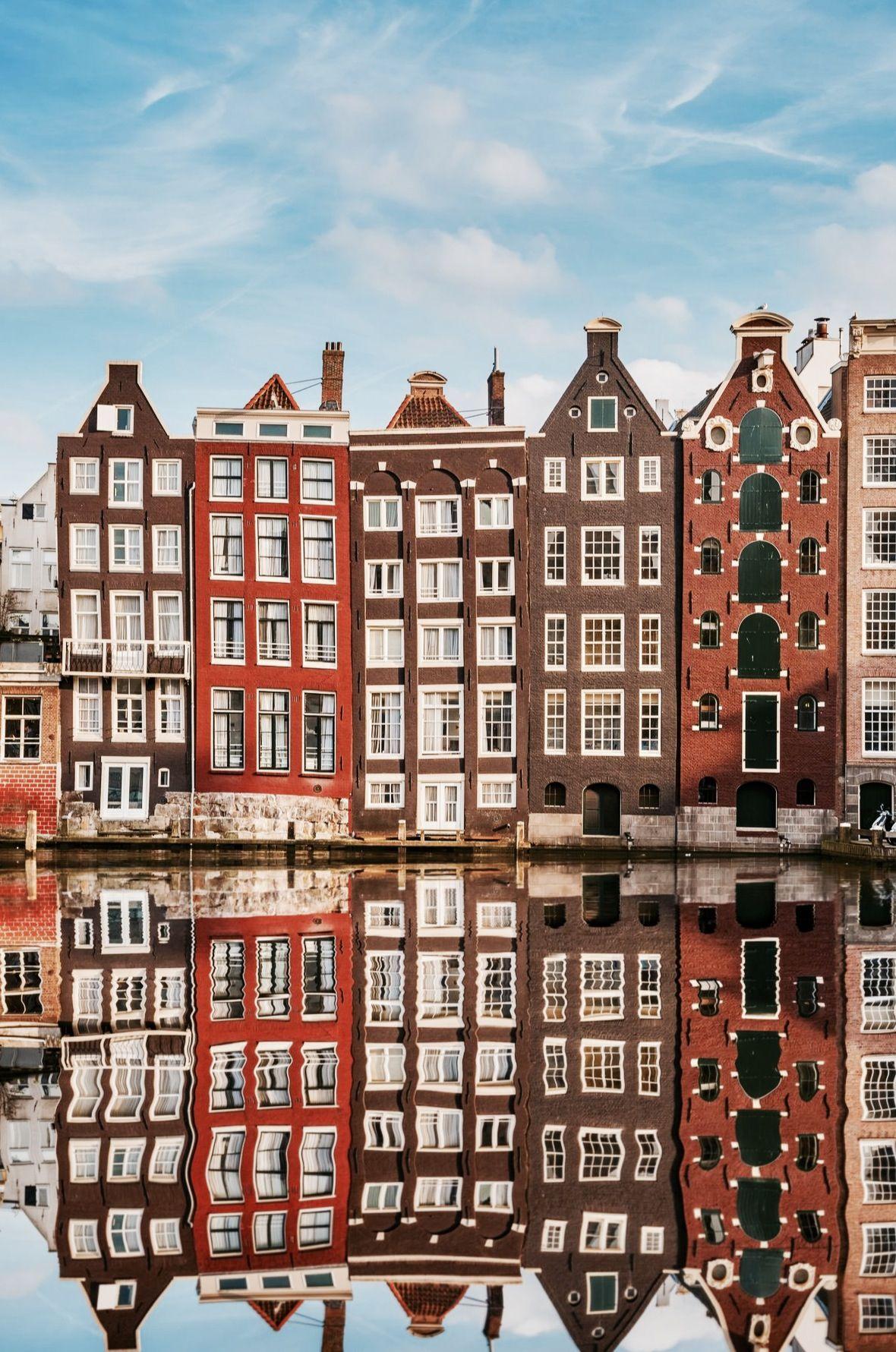 Amsterdam, Netherlands. reflection! contrast of building vs. sky colors.
