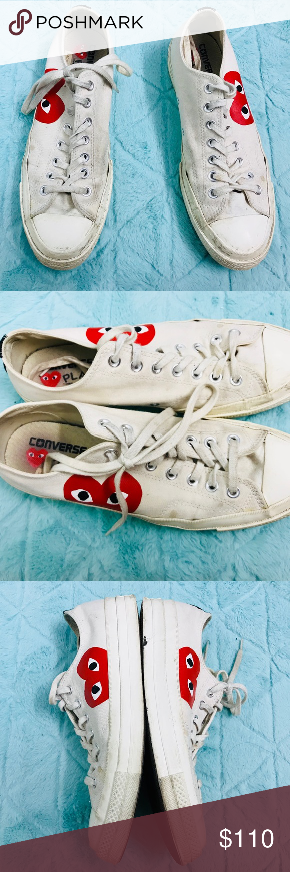 Converse Comme des Garcons white low top 9M  11W Shoes and laces are dirty  and 3d52863ab
