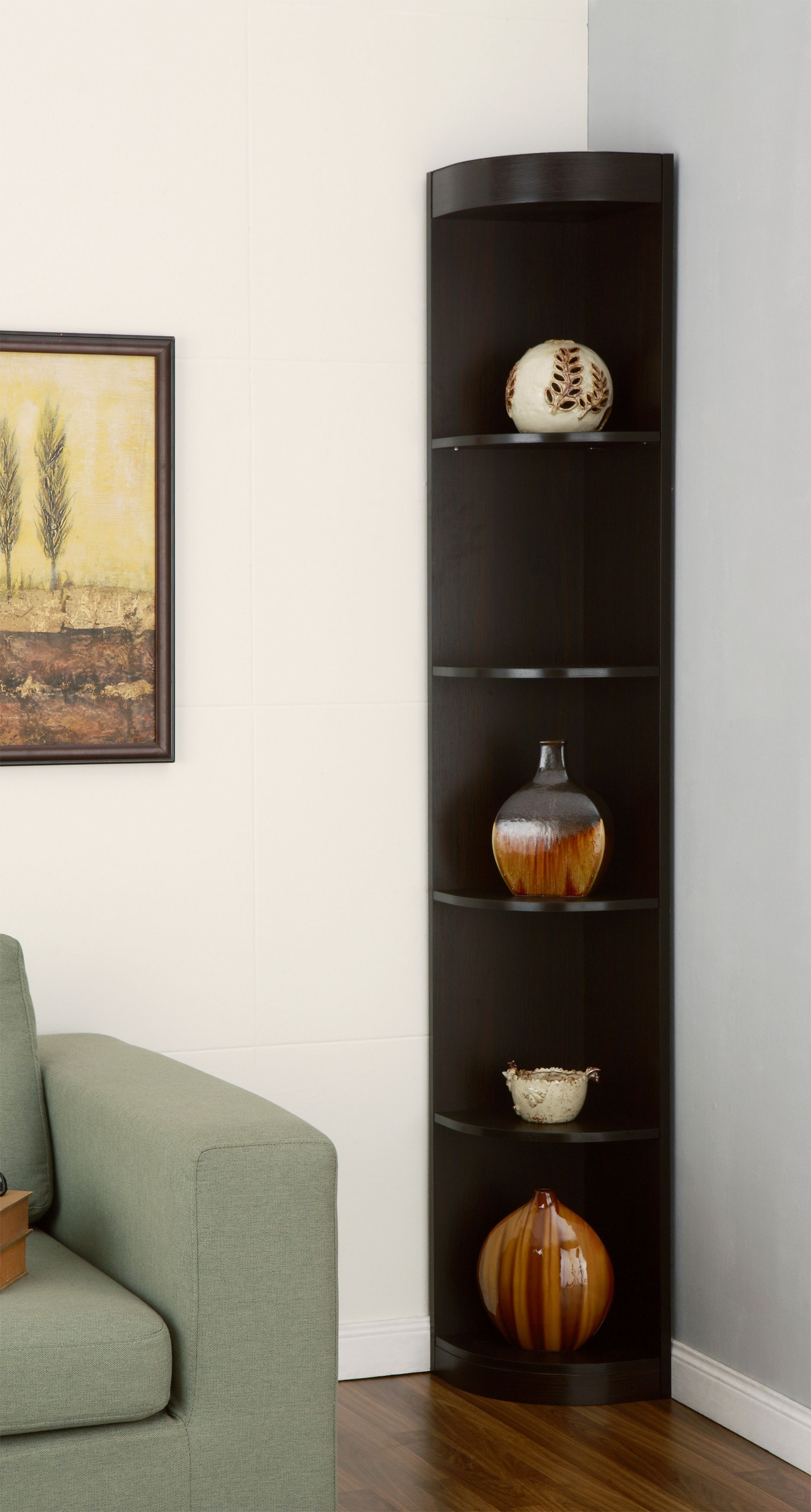 Furniture of America Ogla 5-Tier Corner Espresso Display Stand, Brown