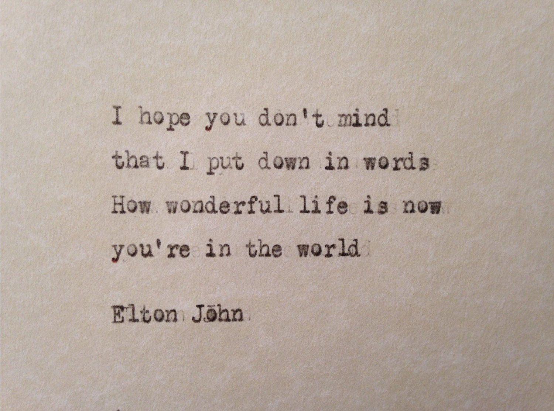 Elton John /'Your Song/' Personalised Framed Song Lyrics Print Valentines Day Gift