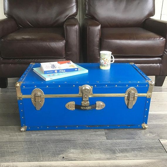 Vintage Blue Storage Trunk, Footlocker, Coffeetable Trunk, Dorm Room Storage