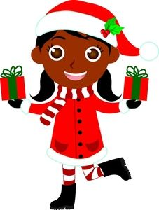 christmas gifts clipart image ethnic child a girl dressed for rh pinterest com secret santa clip art images free secret santa clip art images free