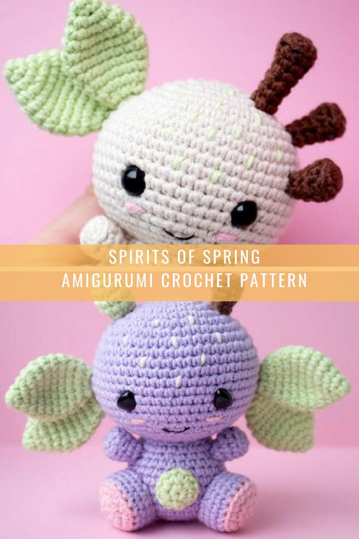 Amigurumi Spirit of Apple tree pattern. Crochet pattern. Spirits of Spring. Languages - English, French, Norwegian, Dutch, Danish, Spanish