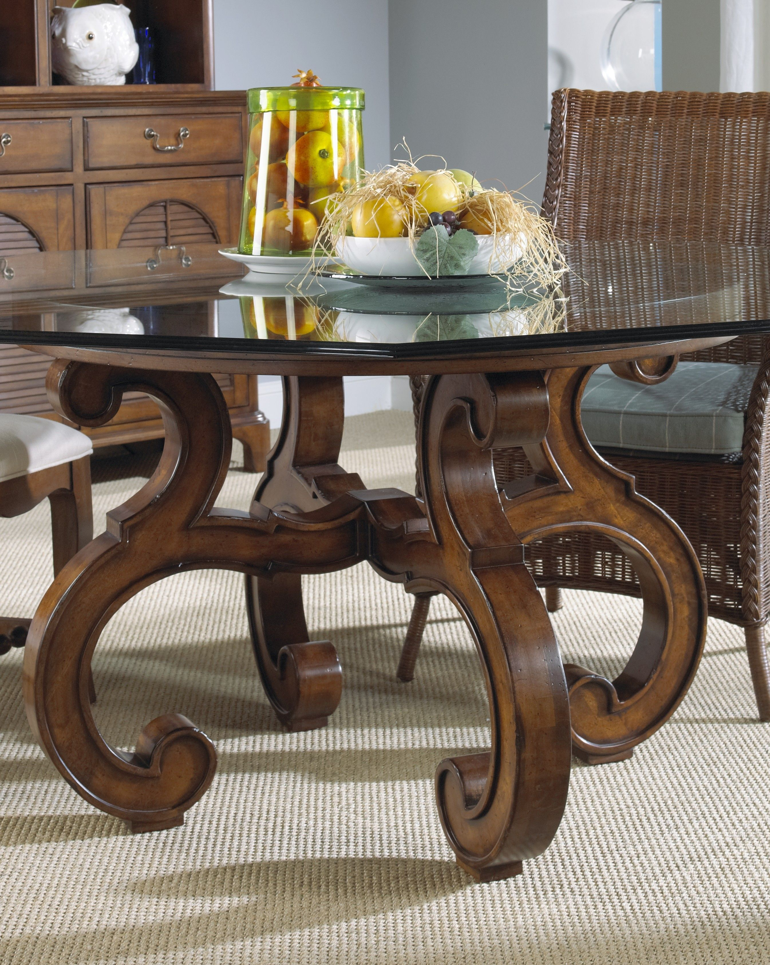 Glass Top Dining Table With Antique Brown Wooden Curved