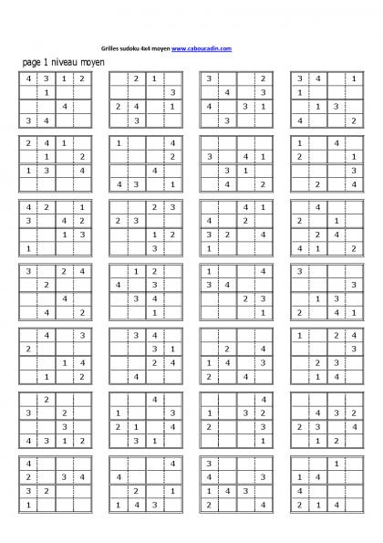 Grilles Sudoku 4x4 Niveau Moyen 1 Sudoku Sudoku à