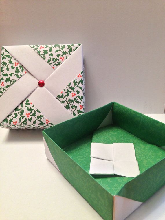 Calendar Series Christmas Holly Pinwheel Origami Gift Box Origami