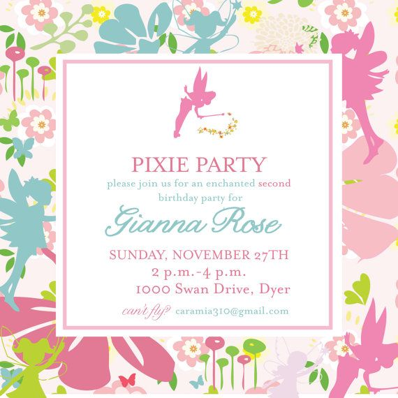 Pixies y piratas invitaci n Tinkerbell por camaddisondesigns – Tinkerbell Party Invitation