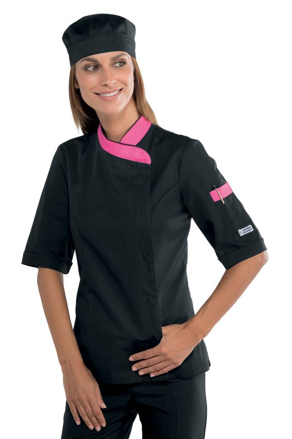 Veste de cuisine femme noire manche courte