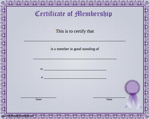 10+ Membership Certificate Templates | Free Printable Word ...