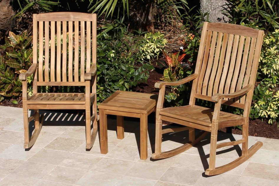 Set of 2 Teak Rocking Chairs & 18in Side Table Teak