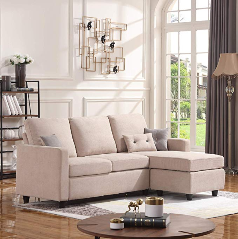 Honbay Convertible Sectional Sofa Couch L Shaped Couch With Modern Linen Fabric For Small Space Dar Sofas For Small Spaces Sectional Sofa Couch L Shaped Couch