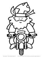 Kleurplaat Kerst Blond Sinterklaas Op De Motor Sinterklaas Knutselen