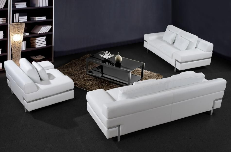 Trentino modern white leather three piece sofa set for Divani in trentino