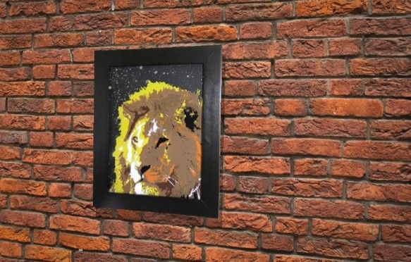 LIONフレームサイズ 480mm×380mmブラック 木製フレーム ガラス原画スプレーアート作品TOMOYAのメインの技法とミックスして描かれた...|ハンドメイド、手作り、手仕事品の通販・販売・購入ならCreema。